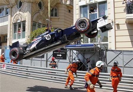 Williams Formula One driver Pastor Maldonado crashes